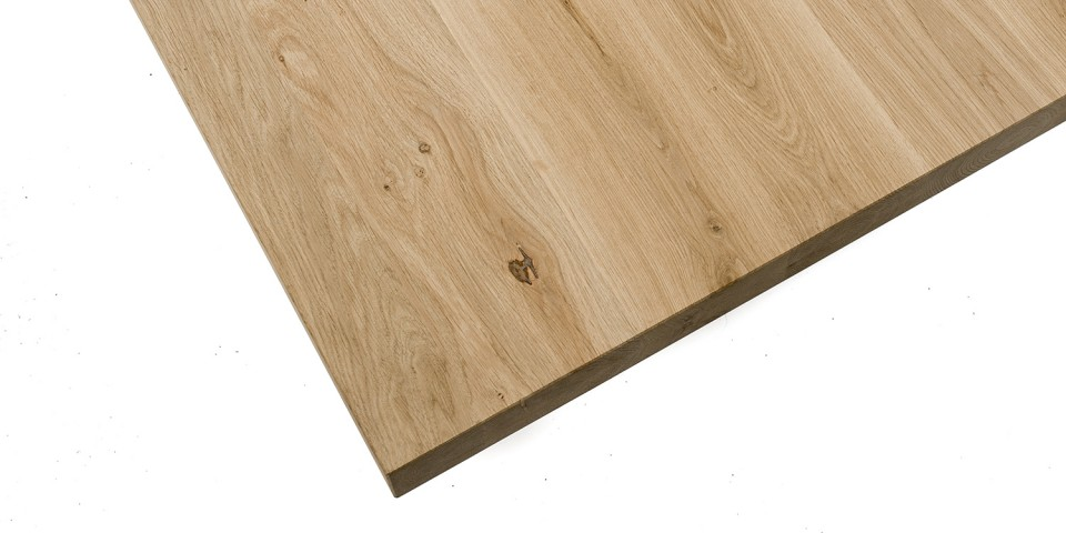 Eiken tafel - blad 6 cm dik - Eiken X onderstel