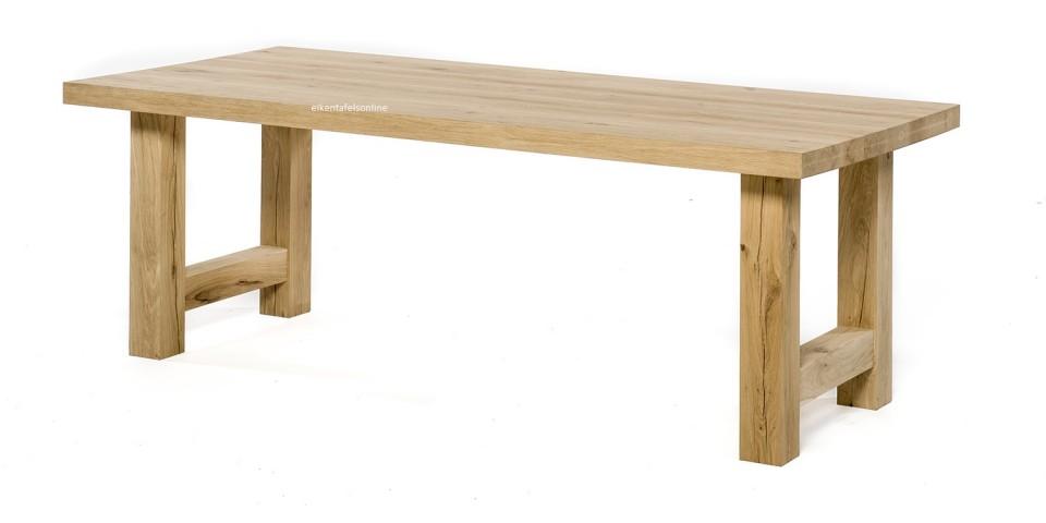 Eiken tafel - blad 6 cm dik - Eiken H onderstel
