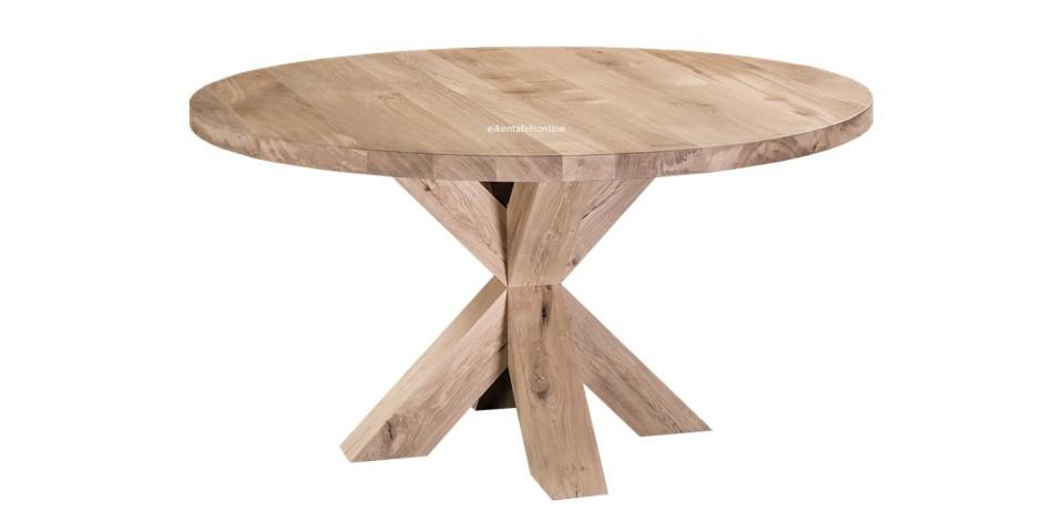 Eiken tafel rond - met eiken X onderstel