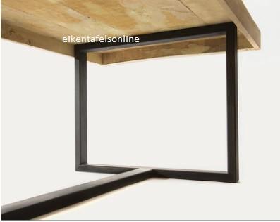 Eiken tafel opgedikt blad - metalen onderstel X poot
