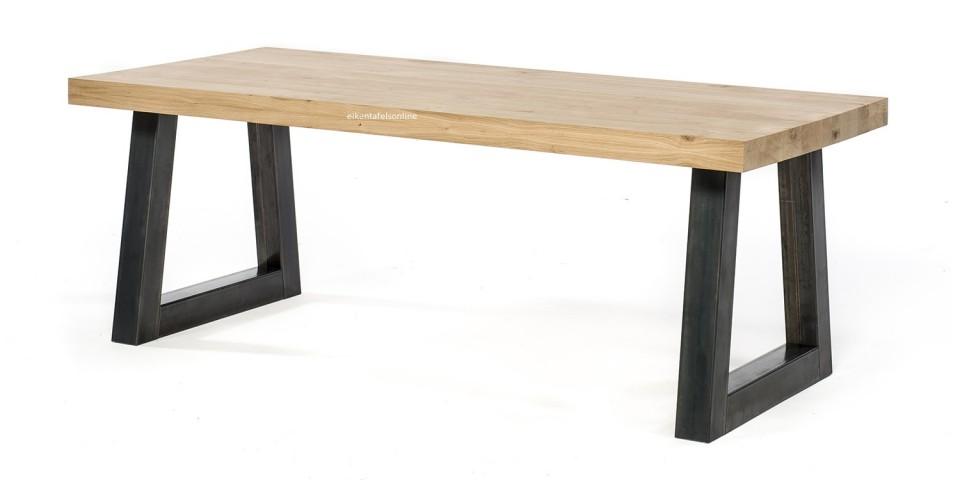 Eiken tafel - 8 dik - metalen Trapeze onderstel 10x10 cm