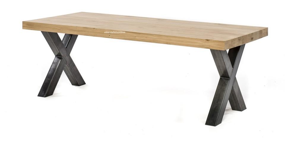 Eiken tafel Industrieel - 8 dik - metalen x onderstel 10x10 cm
