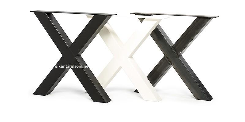 Eiken tafel - 8 dik - metalen U onderstel 10x10 cm