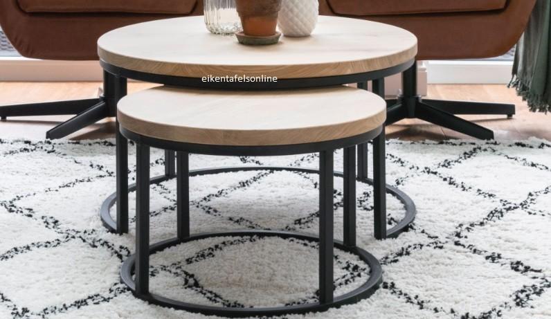 Eiken salontafel rond - rond onderstel