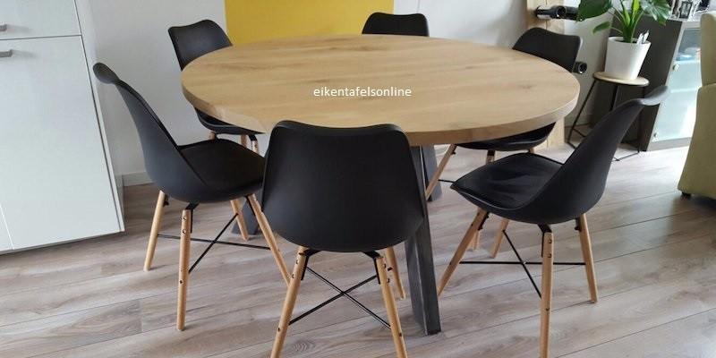 Eiken tafel rond - 6 dik - 3 metalen poten