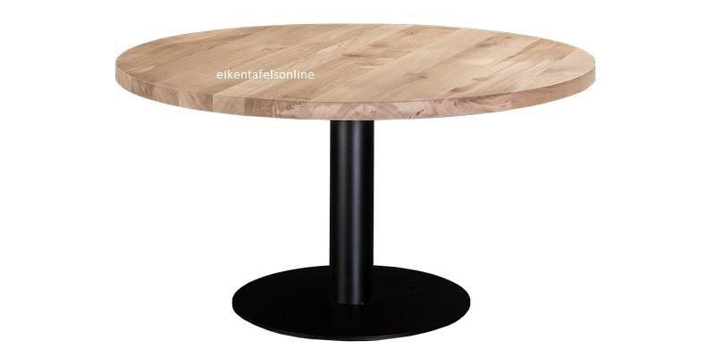 Eiken tafel rond - 6 dik - met metalen bodemplaat