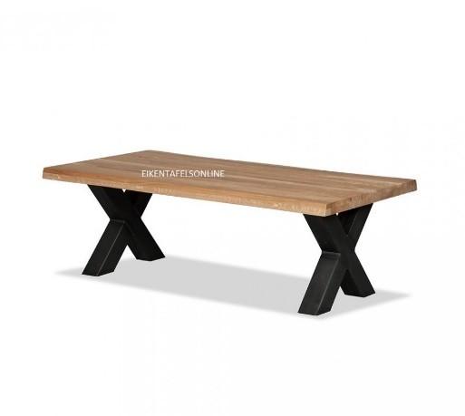 Eiken salontafel - metalen X poot 8x8 cm