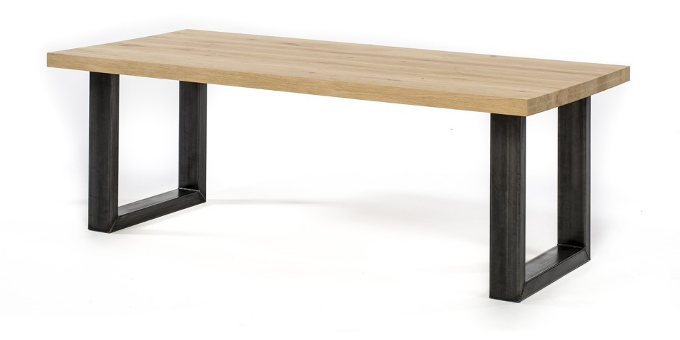 Eiken tafel - 6 cm dik - metalen U onderstel 12x6 cm