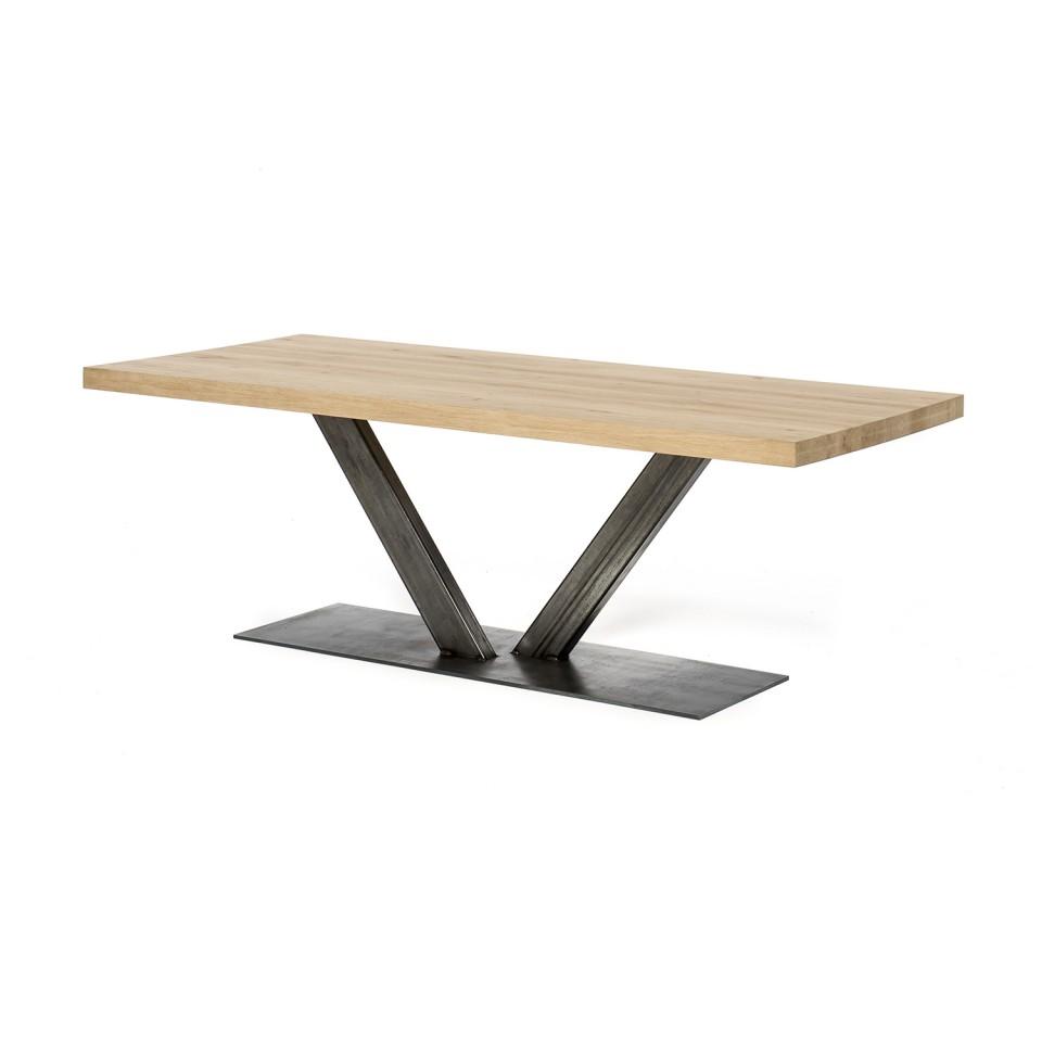 Eiken tafel - 6 cm dik - metalen V onderstel 12x6 cm