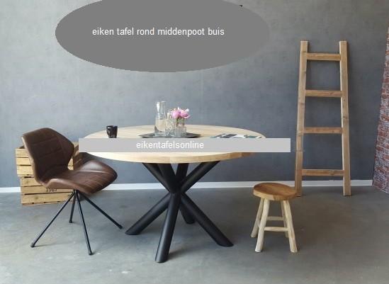 Eiken tafel rond - middenpoot buis