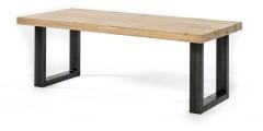 Eiken tafel Industrieel - 8 dik - metalen U onderstel 10x10 cm