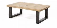 Eiken salontafel - metalen U poot 8x6 cm