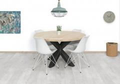 Eiken tafel Rond opgedikt - metalen onderstel