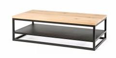 Eiken salontafel Rank met onderblad metaal