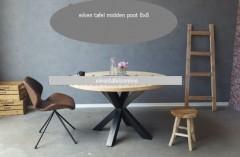 Eiken tafel rond - middenpoot 8x8
