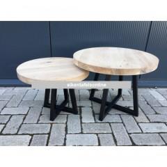 Eiken salontafel rond - dubbel U poot